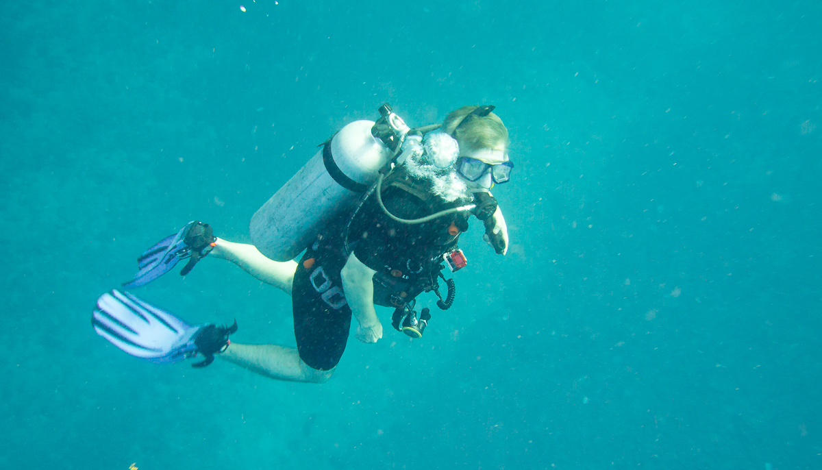 Diver with jacket style BCD.